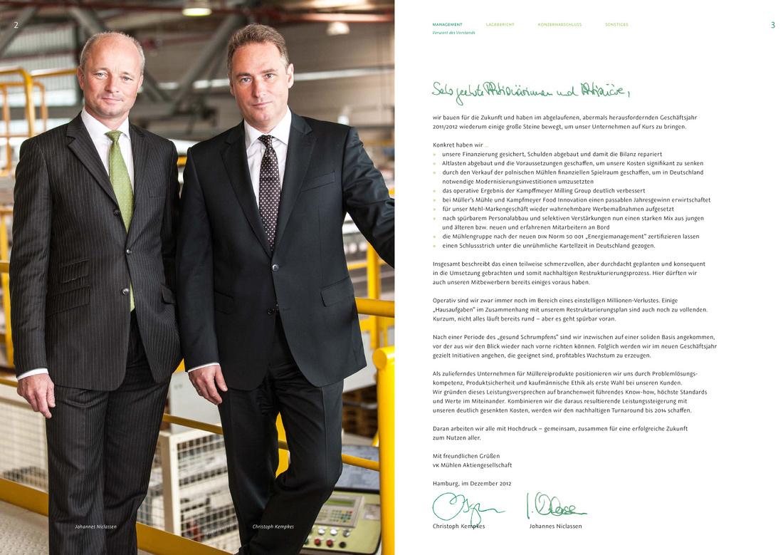 VK Mühlen - Fotos für Geschäftsbericht